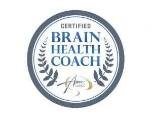 Brain Health Coach certification badge from Amen Clinics | Lisa Pinkstaff, LPC, LLC | Neurofeedback Counselor & Brain Health Specialist in Shavano Park | San Antonio, TX 78249